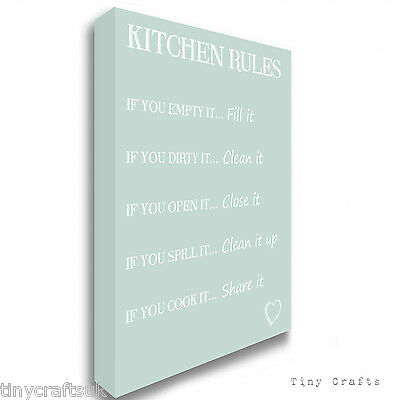 Canvas Wall Art Print Picture ALL SIZES Teal Family Rules Quote ANY COLOUR