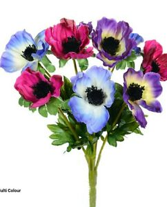 Anemone artificiallk flower bunch and purple9 headsding image is loading anemone artificial silk flower bunch pink and purple mightylinksfo