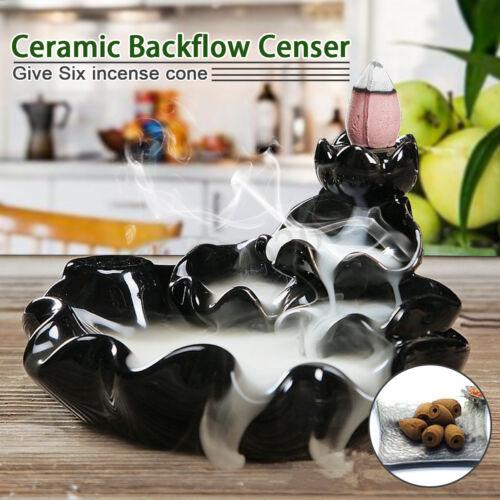 Black Porcelain Backflow Ceramic Cone Incense Burner Holder Buddhist Cones