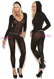 99fc3f3bcf Image is loading Black-OPAQUE-HOODED-Bodystocking-LONG-SLEEVE-FOOTLESS-Deep-