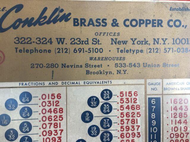 COLLECTORS Antique Millwright Signage T.E. Conklin Brass & Copper Co., Inc. NY