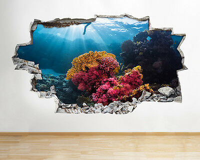 S561 Coral Reef Diver Ocean Blue Smashed Wall Decal 3D Art Stickers Vinyl Room