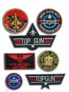 Top-Gun-Maverick-Fancy-Dress-patches-Iron-on-6-Patch-set-Aufnaeher-Buegelbild