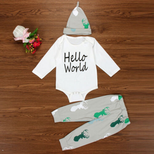 Newborn Baby Girls Boys Tops Romper Jumpsuit+Long Pants+Hat Outfits Clothes Set