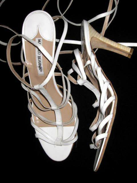 MANOLO BLAHNIK White Strappy Lace Up Sandals 40  10