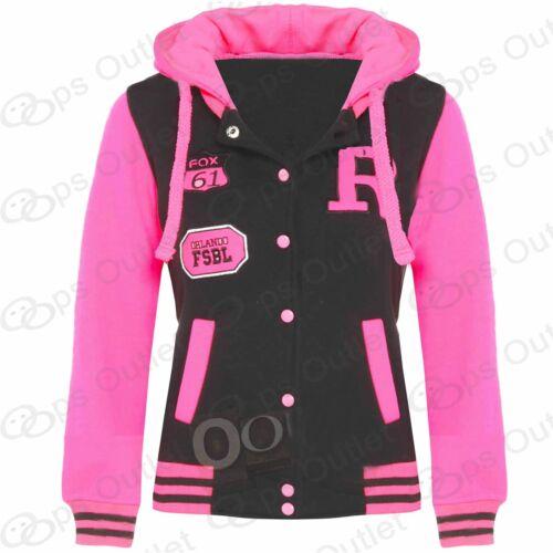 Kids Girls Boys Baseball Hoody Hooded Button-Down Hoodies Sweatshirt Jacket Top