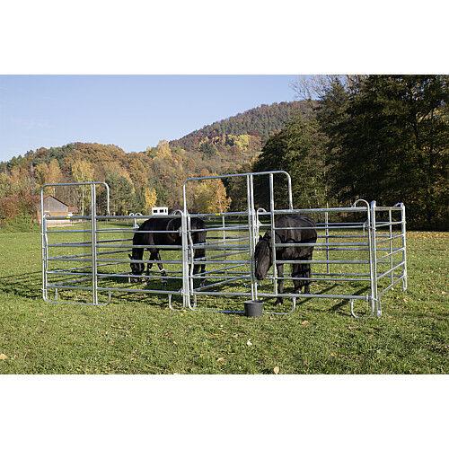 3 Meter Breite *Patura* Zaunelement Pferde 6-er Panel mit Tor /& Fressgitter