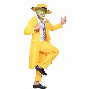 Men-90s-Fancy-Dress-The-Mask-Jim-Carrey-Costume-Yellow-Gangster-Zoot-Suit-Outfit