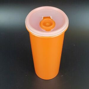 TUPPERWARE-Vintage-Retro-Orange-Canister-262-With-Clear-amp-Orange-Lid-603-NICE