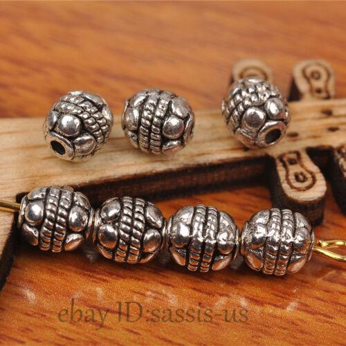 100pcs 6mm Charm Tibetan silver Bead Spacer DIY Jewery Making Fit Bracelet A7268