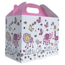 10 x BABY GIRL PINK & WHITE GABLE BOXES Baby Shower Gift - Party Lunch Snack Box