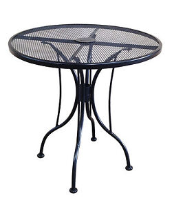 Details about 30 Inch Round Black Mesh Wrought Iron Metal Table Outdoor  Restaurant Cafe Patio