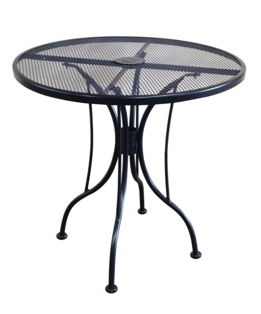 Awe Inspiring 30 Inch Round Black Mesh Wrought Iron Metal Table Outdoor Restaurant Cafe Patio Theyellowbook Wood Chair Design Ideas Theyellowbookinfo