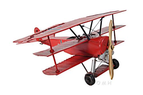 """1917 Fokker Dr.1 Triplane Metal Desk Top Model 12/"""" Red Baron Fighter Aircraft"""