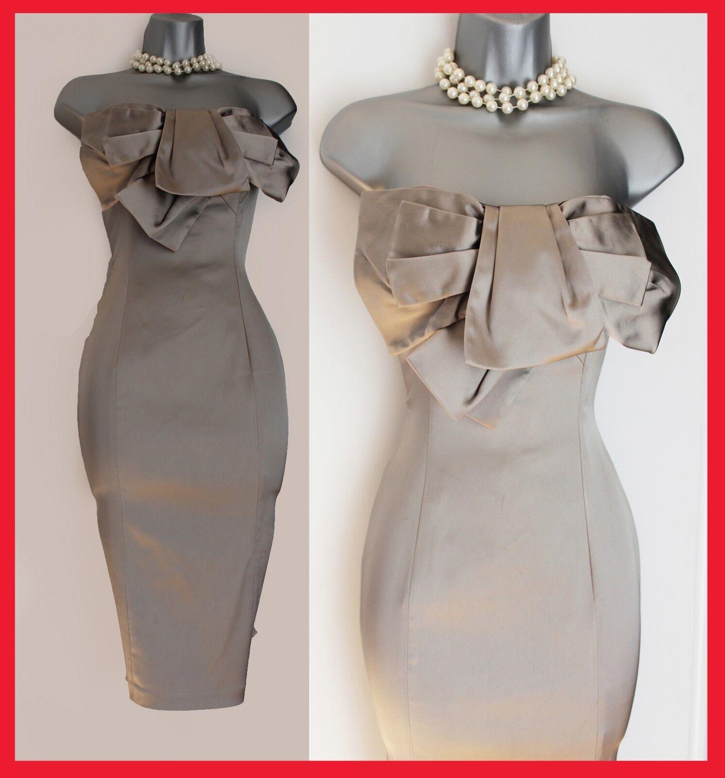 Karen Millen Beige Satin Bow Ballgown Strapless Elegant Cocktail Dress UK10 EU38