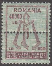 Romania War Tax Revenue Barefoot #115 MNH 12% double stamp 1945 cv $12