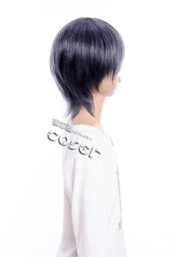 W-335 Black Butler Ciel Cosplay Parrucca Wig calore fisso grigio blu grey blue 32cm