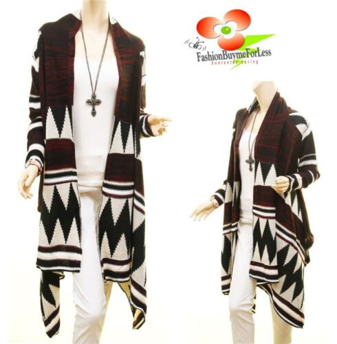 Western Cowgirl Hippie Wool Draped Open Sweater Cardigan Duster Coat S M L XL