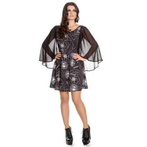 Hell Bunny Spin Doctor Lucille noir OCCULT Wicca sorcière gothique Mini robe de soirée