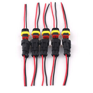 5 Kit 2 Pin Way Car Waterproof Electrical Connector Plug with Wire AWG Marine