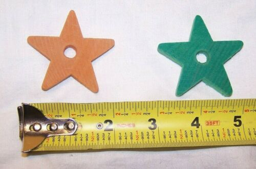 """25 Wood 2/"""" Colored Wooden Stars Bird Parrot Toy Craft Beads Parts w//Hole NEW"""
