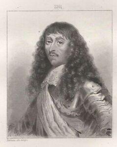 Portrait-of-Louis-II-Bourbon-Prince-le-Grand-Conde-Engraving-Xixth