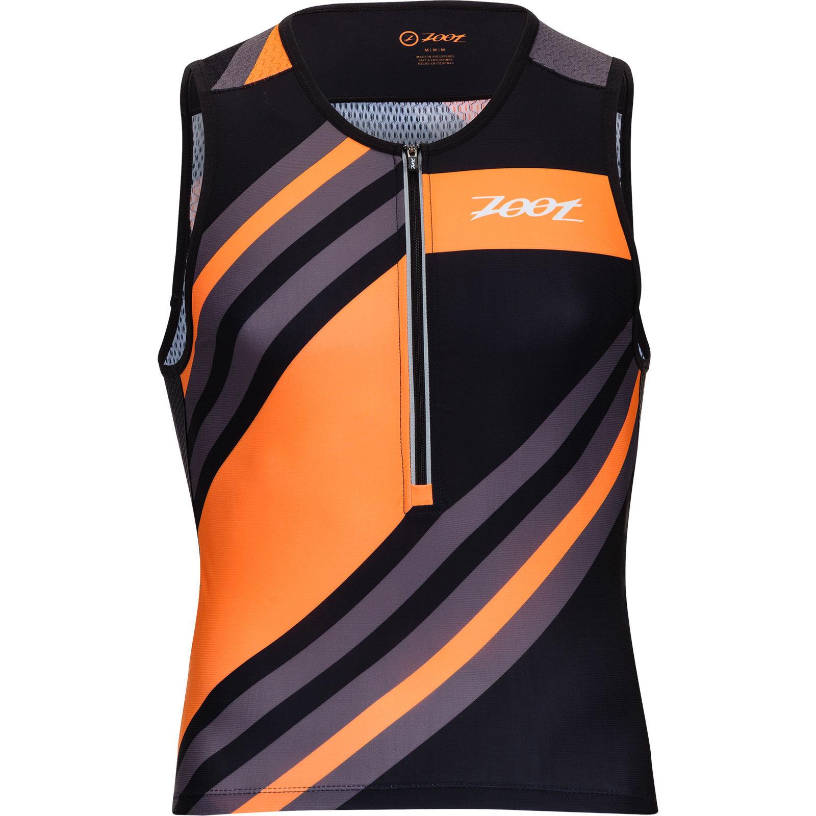30% DI SCONTO  ZOOT da uomo L ULTRA Tri Tank Canotta triathlon corsa ciclo Arancio strato superiore