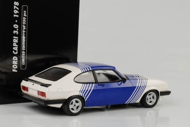 Ford Capri 3.0 III 1978 Cologne White Blue Stripes 1:18 Minichamps Diecast
