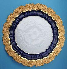 Meissen Relief Porzellan Prunkplatte Wand-Teller Ø 35,5 cm Kobaltblau Gold ~1920