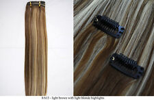 """Recurlable Human Hair Mix Blend CLIP ON IN Extensions 10 pc - Yaki Straight 22"""""""