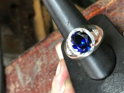 925 Sterling Silver Synthetic Sapphire Men/'s Solid Ring available size 6-14