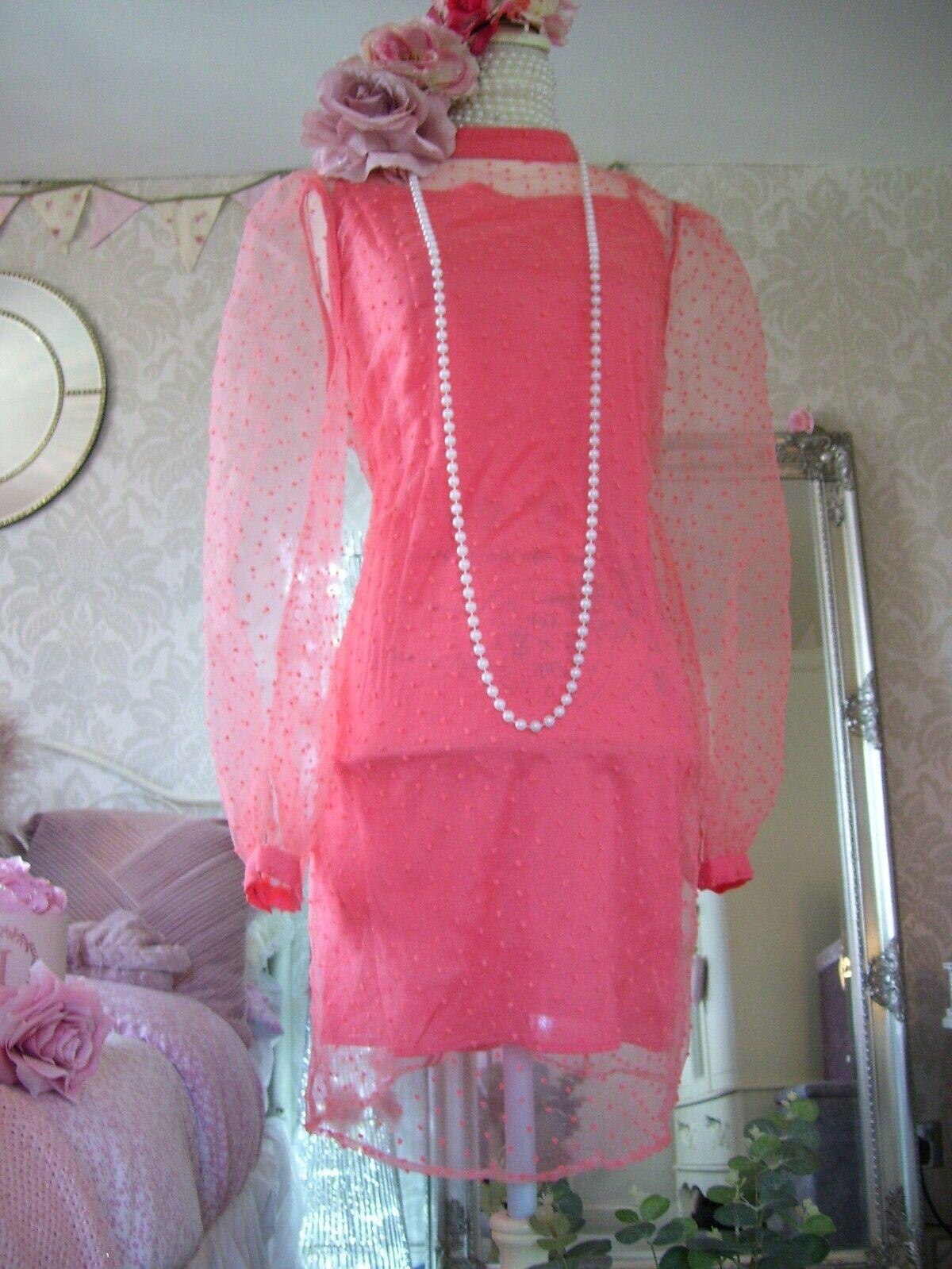 Coast New Tags coral sheer polka dot size 14 new tags dress wedding