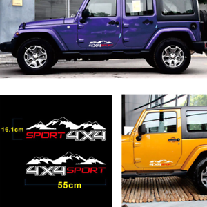 2 Pcs 16cmx55cm Vinyl 4X4 Mountain Sport Graphics Car SUV 4WD Body Decal Sticker
