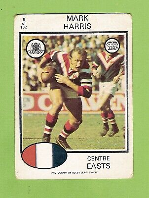 1975 EASTERN SUBURBS ROOSTERS SCANLENS RUGBY LEAGUE CARD #8 MARK ...