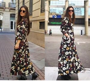 ZARA-Black-Floral-Print-Long-Maxi-Shirt-Button-Dress-With-Polka-Dots-S-L