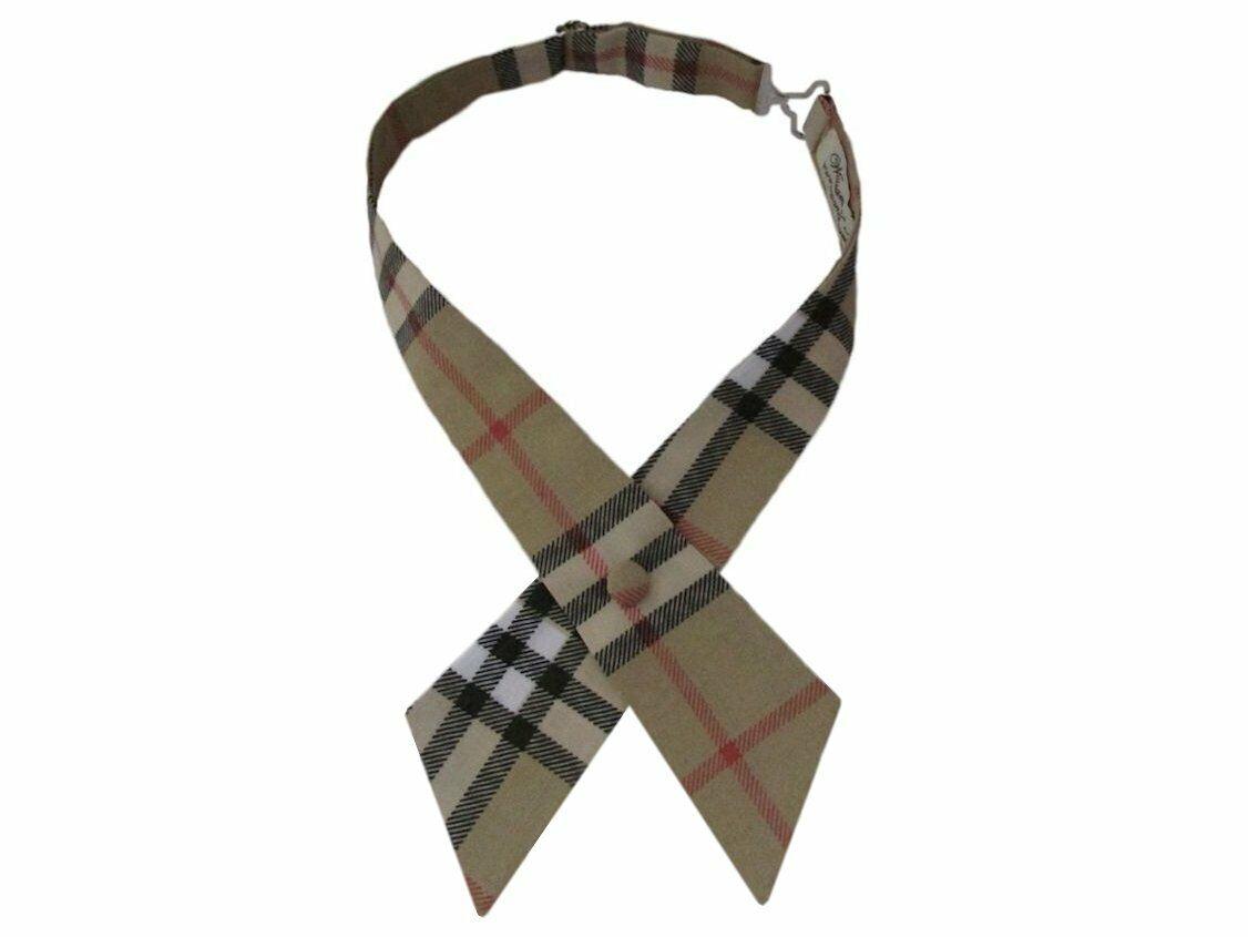Beige Check Crossover Designer Style Bow Tie