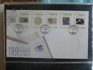 NEW-ZEALAND-2005-150yrs-OF-STAMPS-SET-5-STAMPS-JUNE-FDC-FIRST-DAY-COVER