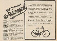 Z1347 Biciclette e Cicli a Motore TRIUMPH - Pubblicità d'epoca - 1909 Old advert