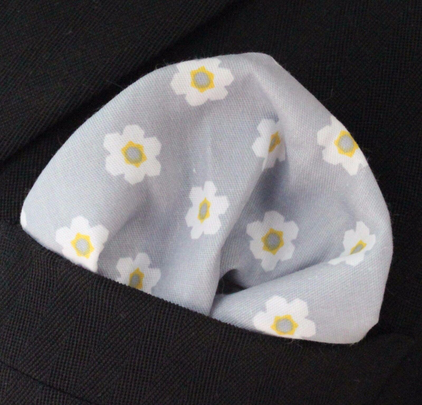 Hankie Pocket Square Cotton Handkerchief Silver Grey with White Flower CH230