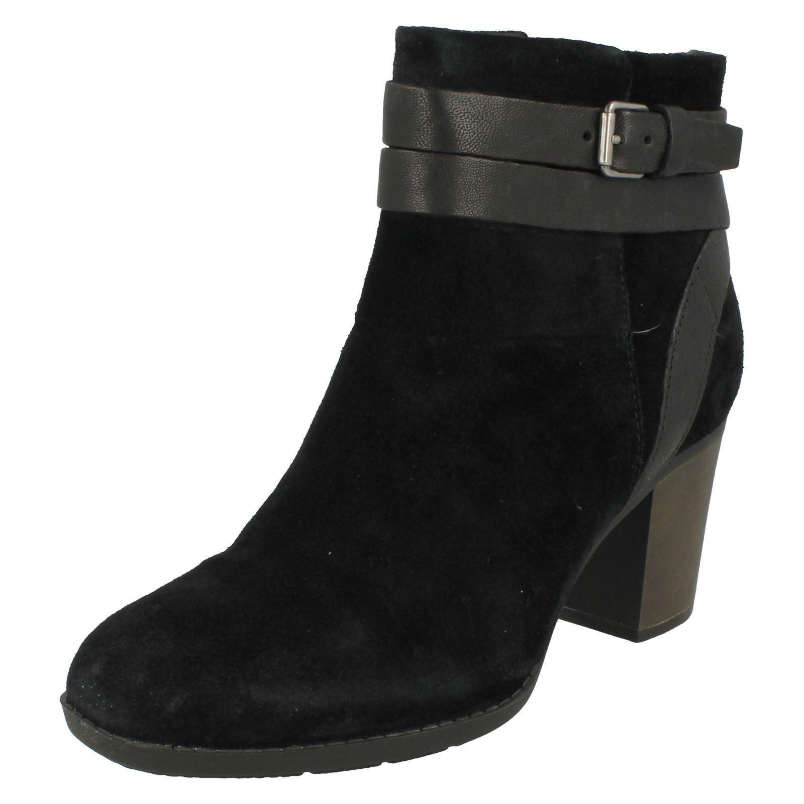 Damas Clarks Enfield Río Negro de de de Cuero de Gamuza Informal botas al Tobillo Tacón Alto  venta con descuento