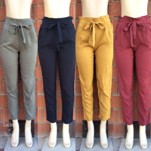 Trendy Rayon Paperbag Pants With Pockets In Black Olive Mustard And Burgundy