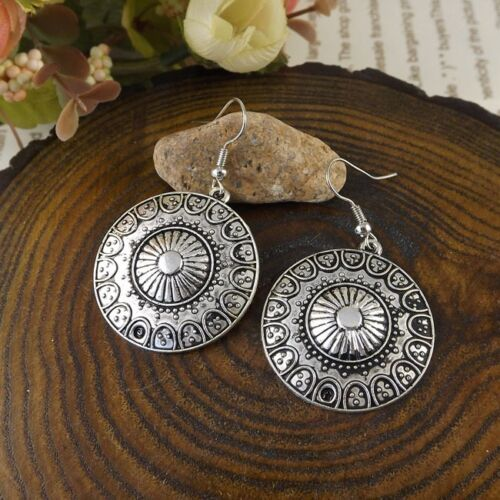 Nouveau Femmes Bohème Pendentif Long Tibetan Silver Round Hook Dangle Earrings
