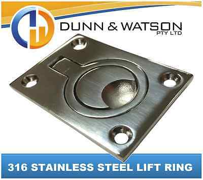 316 FLAT Stainless Flush Pull Ring (Hatch, Latch, Boat, Caravan, Marine)