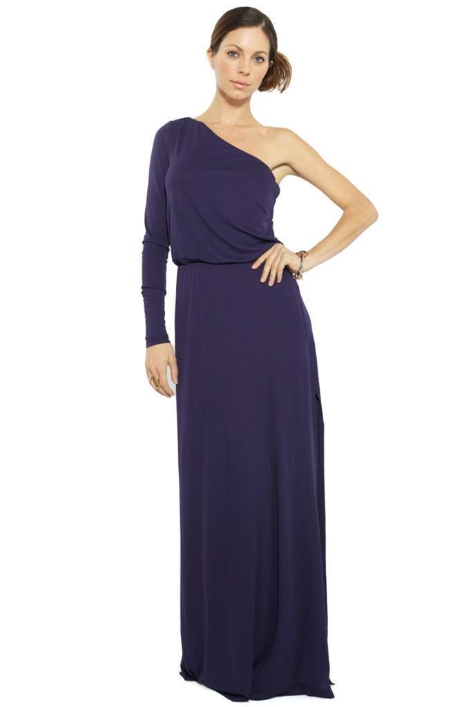 65fbaa30f23d Halston Heritage Long Sleeve One Shoulder Long Dress Midnight Maxi ...