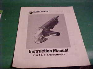 BLACK-amp-DECKER-1988-OWNER-039-S-MANUAL-ANGLE-GRINDERS
