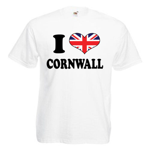 I love coeur Cornwall Adultes Homme T shirt 12 Couleurs Taille S 3XL