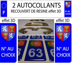 2 Sticker Plaque Immatriculation Auto Resine Blason Armoiries Gascogne