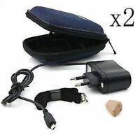 2x Axon K-88 Rechargeable Digital In Ear Hearing Aids Adjustable Sound Amplifier