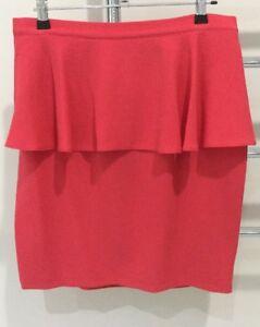 Topshop-Ladies-Peplum-Style-Mini-Skirt-Coral-Size-12