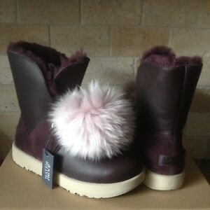 0b1f2ef26de Details about UGG ISLEY WATERPROOF PORT LEATHER POM POM WINTER SHORT BOOTS  SIZE US 5 WOMENS
